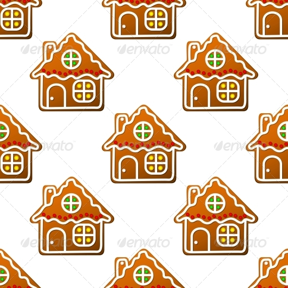 Gingerbread Houses and Homes Seamless Pattern - Christmas Seasons/Holidays