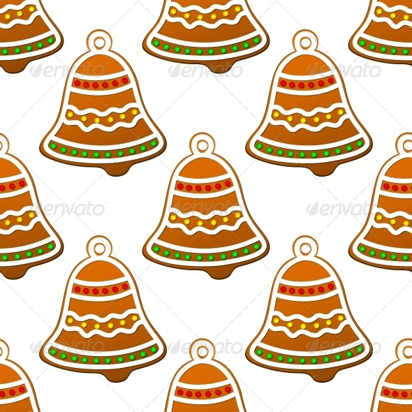 Christmas Gingerbread Bell Seamless Background - Christmas Seasons/Holidays