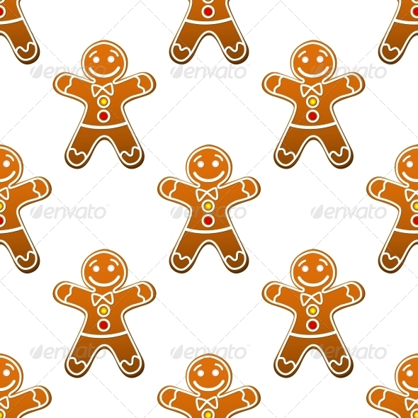 Gingerbread Man Cookie Seamless Pattern - Christmas Seasons/Holidays