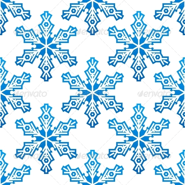 Seamless Pattern with Blue Snowflakes - Patterns Decorative