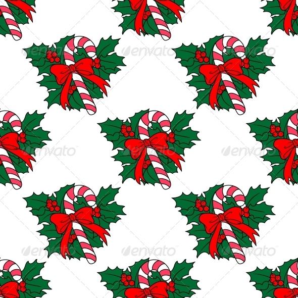 Christmas Candy Stick Seamless Pattern - Christmas Seasons/Holidays