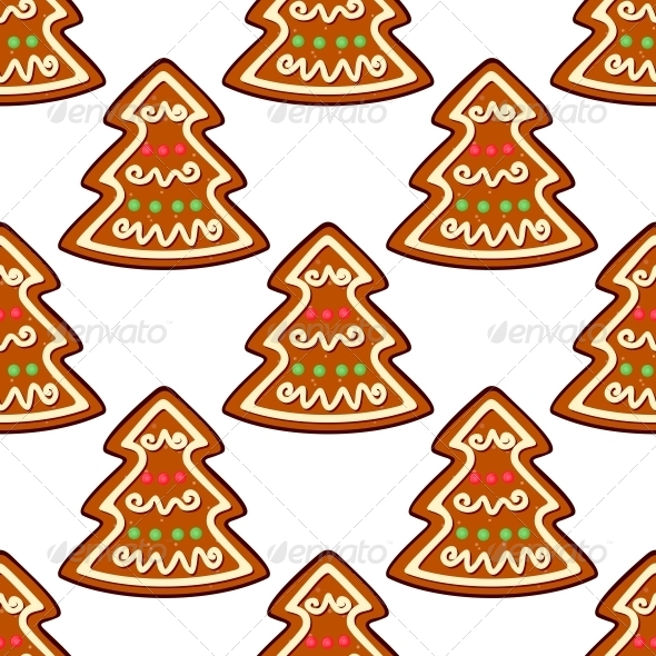 Gingerbread New Year Tree Seamless Pattern - Christmas Seasons/Holidays