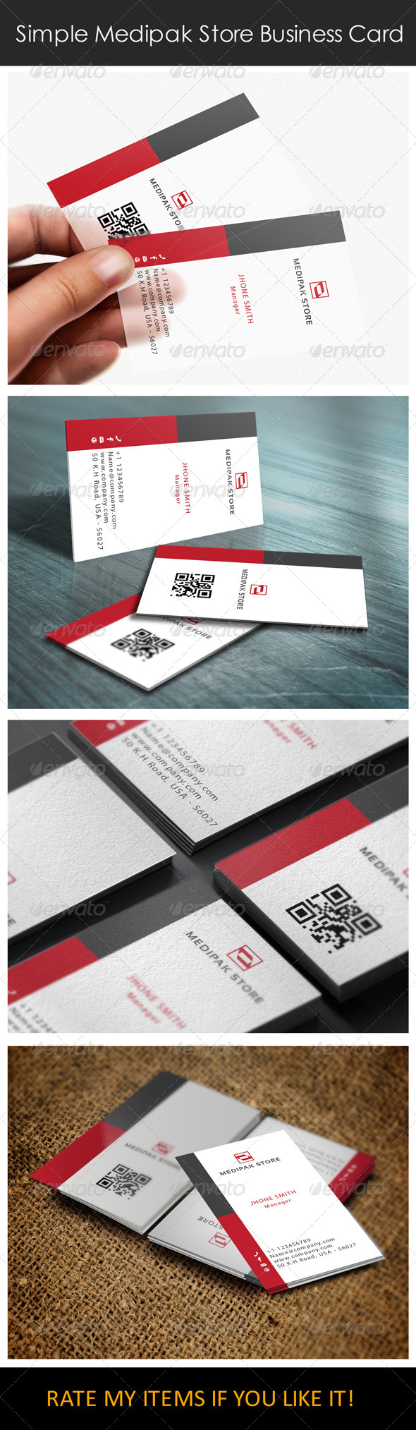 Simple Medipak Store Logo and Business Card - Corporate Business Cards