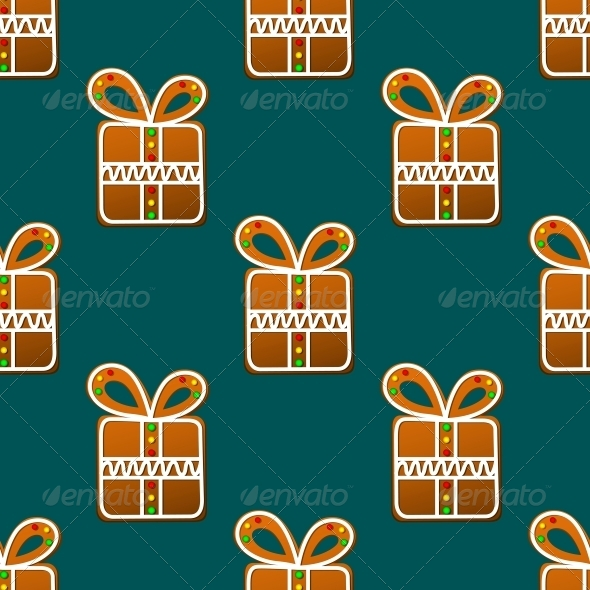 Gift Gingerbread Seamless Pattern - Christmas Seasons/Holidays