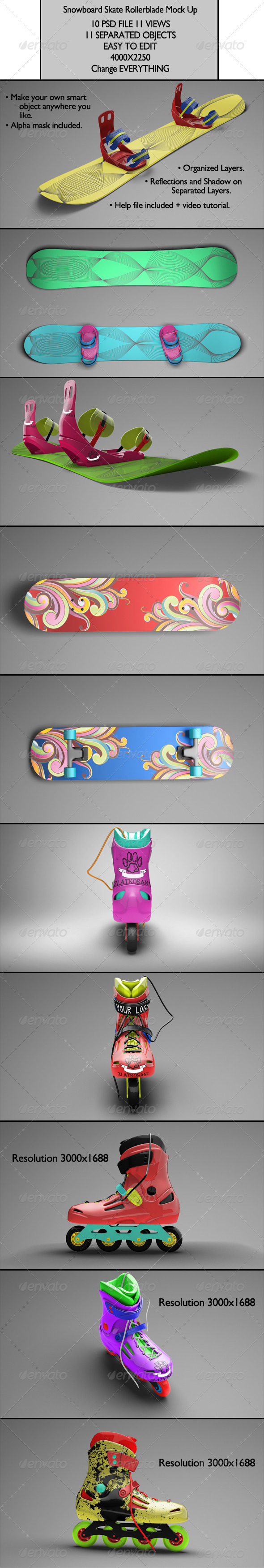 Snowboard Skate Rollerblade Mock Up - Product Mock-Ups Graphics