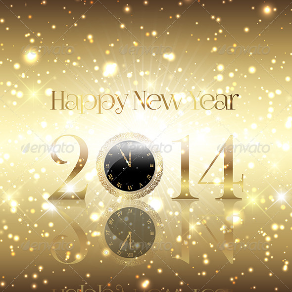 Golden Happy New Year Background - New Year Seasons/Holidays