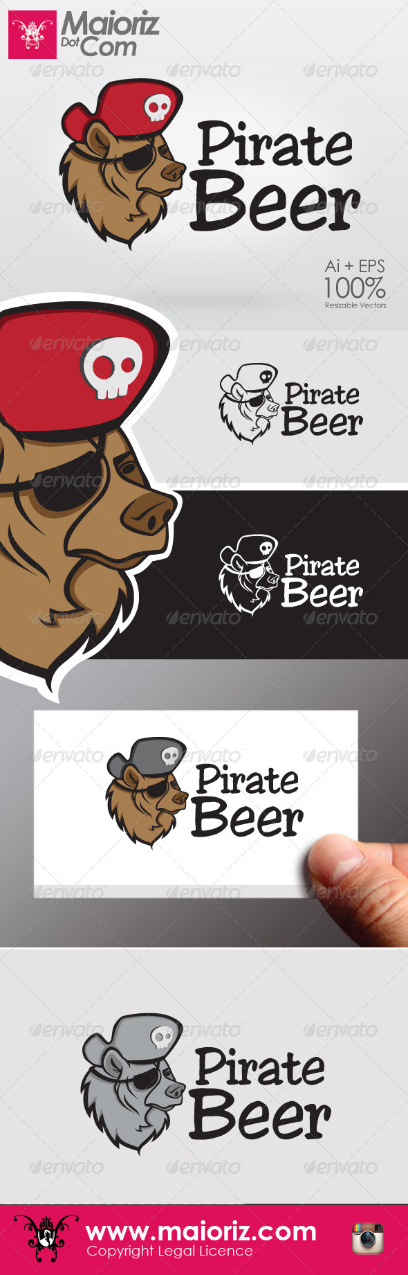 Pirate Beer Logo - Animals Logo Templates