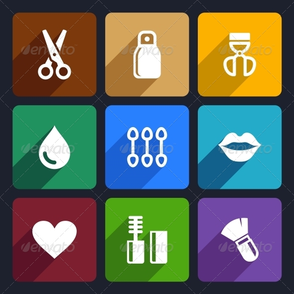 Cosmetics Perfume Flat Icons Set 32 - Objects Icons