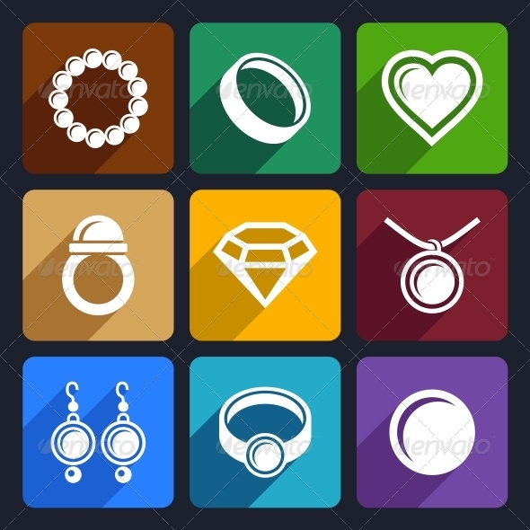 Jewelry Flat Icons Set 33 - Objects Icons