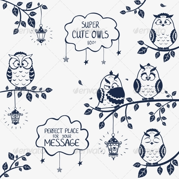Owls Funny - Animals Characters