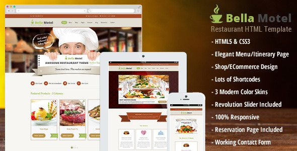 Bella Motel - Restaurant & Bakery Responsive HTML - Food Retail