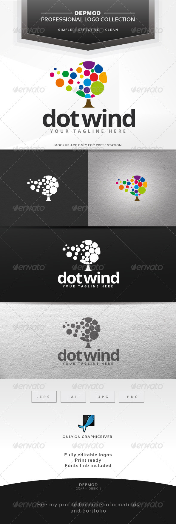 Dot Wind Logo - Symbols Logo Templates