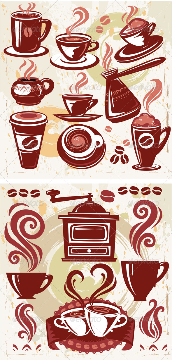 Set of Coffee Symbols - Food Objects