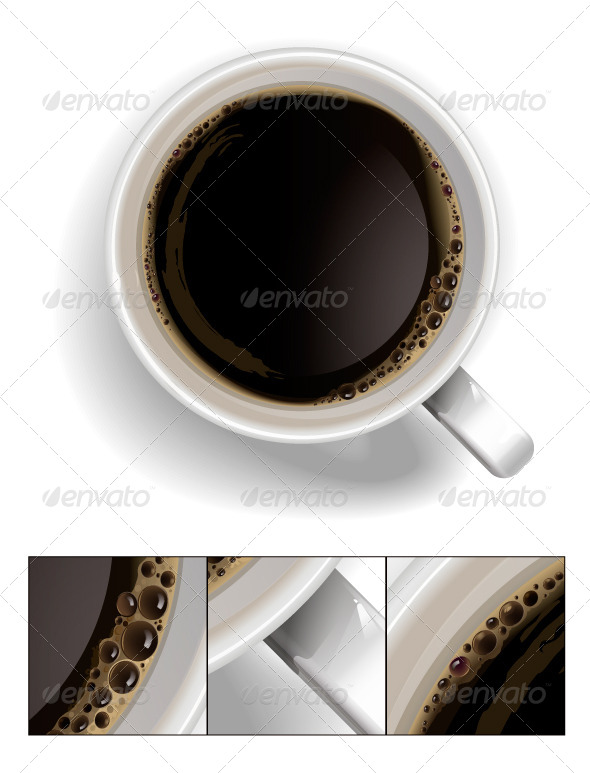 A Cup of Black Coffee. - Objects Vectors