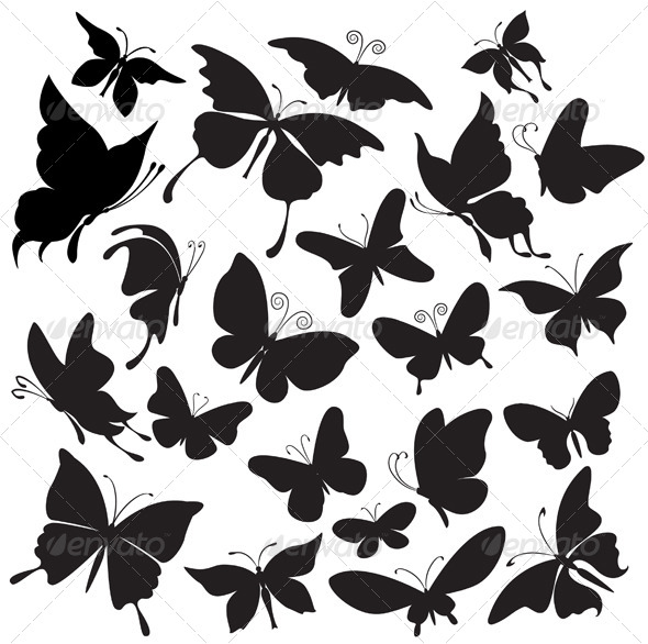 Set of Butterflies Silhouettes - Animals Characters
