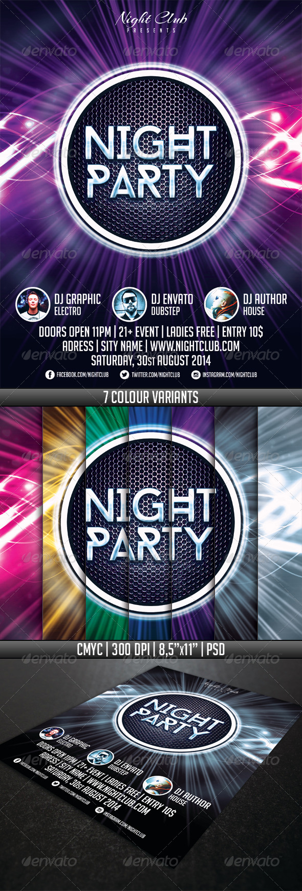 Night Party Flyer Template - Events Flyers