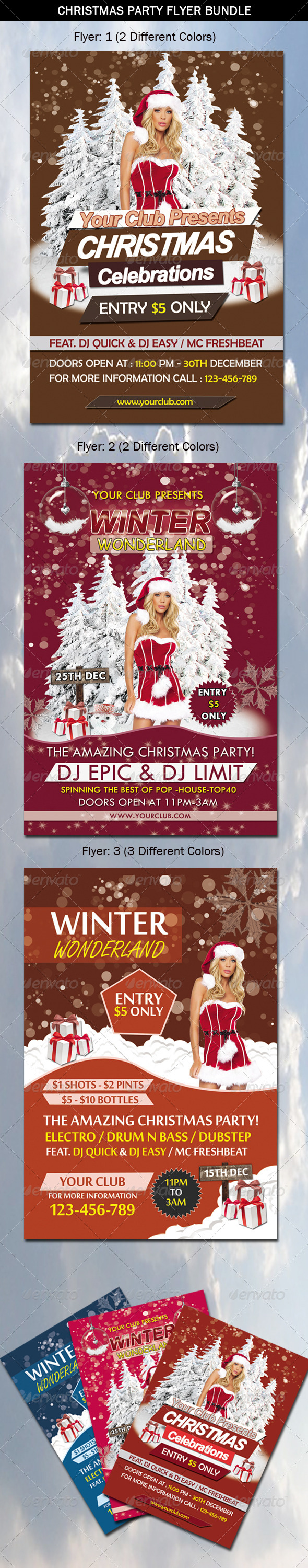 Christmas Party Flyer Bundle - Events Flyers
