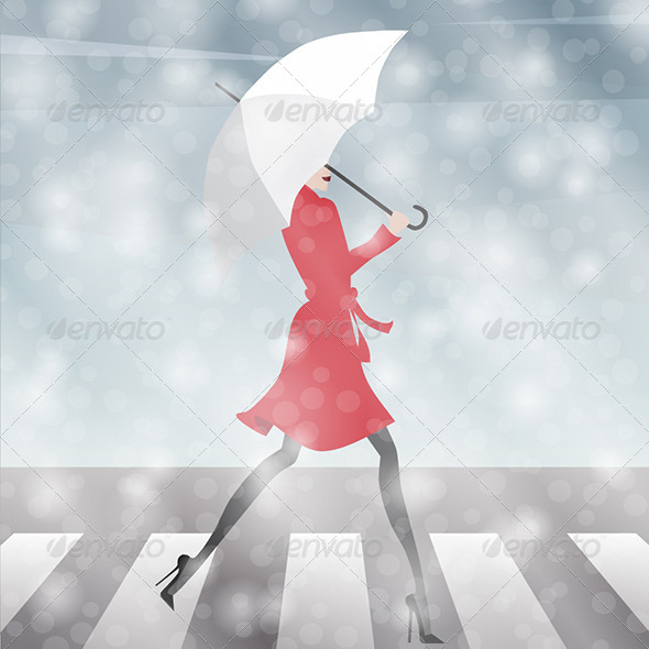 Girl Crossing the Street in the Snow - People Characters