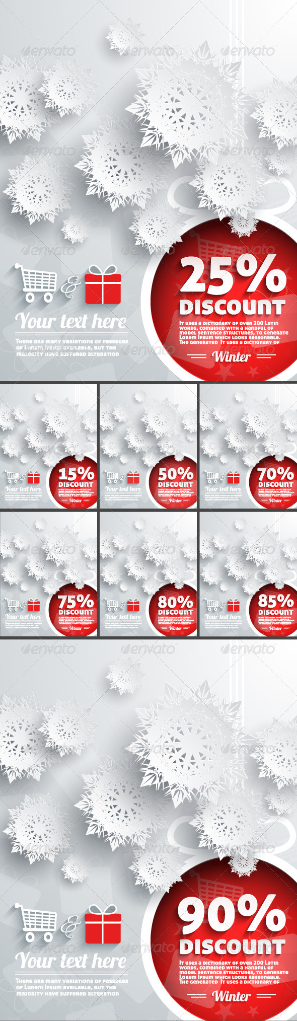 Winter Discount Percent with Snowflake and Ball - Retail Commercial / Shopping