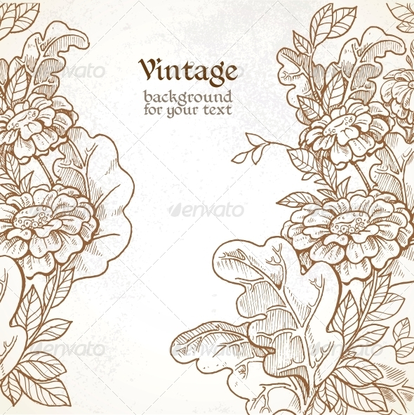 Vintage Background with Wild Meadow Flowers - Flowers & Plants Nature