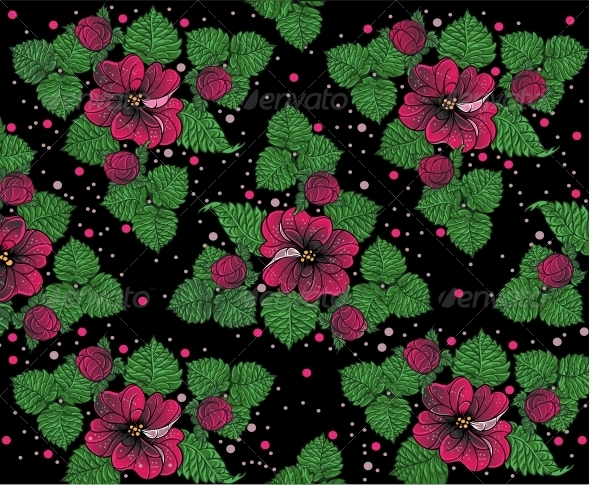 Background Pattern from Pink Flowers on Black - Flowers & Plants Nature