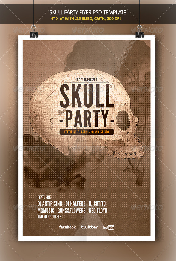 Skull Party | Flyer Template - Clubs & Parties Events