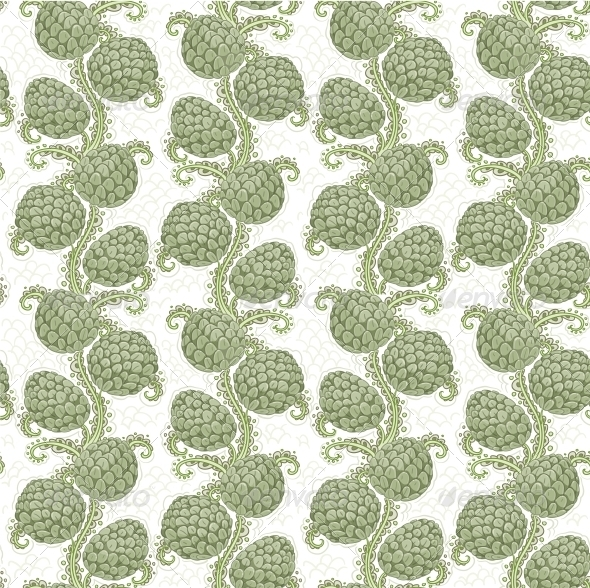 Seamless Decorative Pattern of Hop Cones - Flowers & Plants Nature