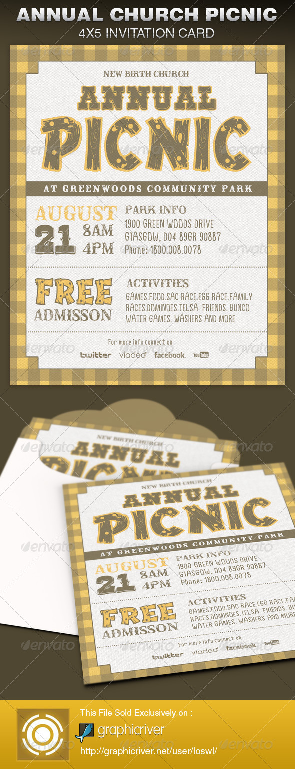 Annual Church Picnic Invite Card Template - Cards & Invites Print Templates