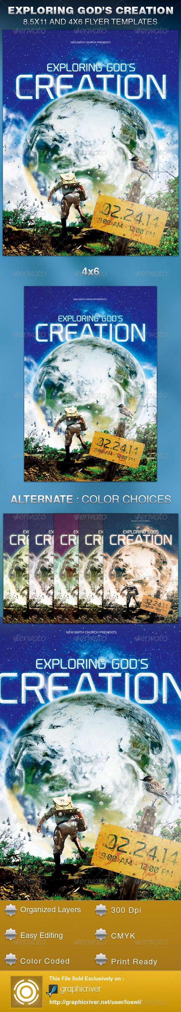 Exploring God's Creation Church Flyer Template - Church Flyers