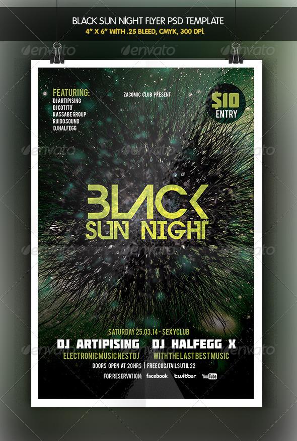 Black Sun | Party Flyer - Clubs & Parties Events