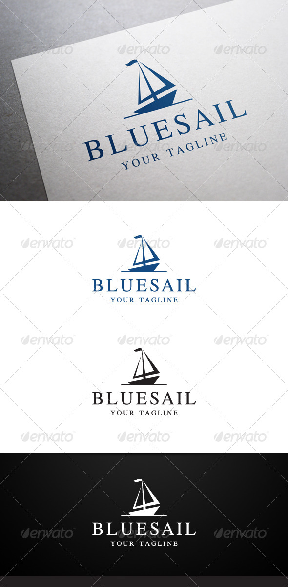 Blue Sail Logo - Objects Logo Templates