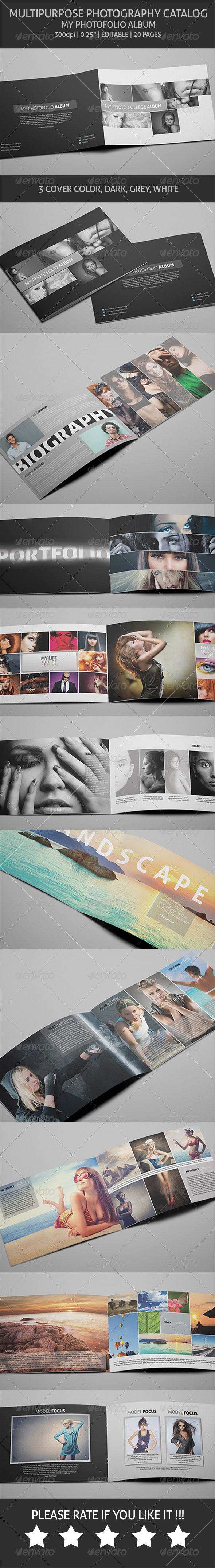 Photography Album - Multipurpose Catalog - Photo Albums Print Templates