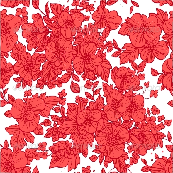 Seamless Pattern of Wild Scarlet Flowers - Flowers & Plants Nature
