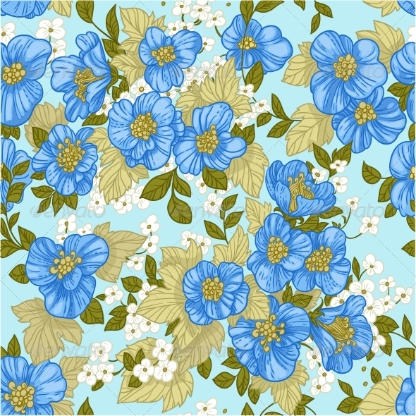 Seamless Pattern of Blue Wildflowers - Flowers & Plants Nature