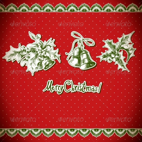 Christmas Holly and Bell. Vintage Background - Patterns Decorative