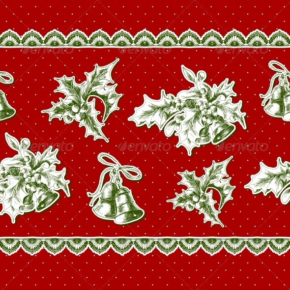 Seamless Vintage Background with Holly and Bell - Patterns Decorative