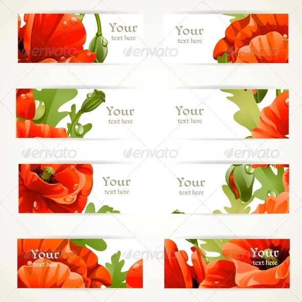 Set l Banners with Fragments of Red Poppies - Flowers & Plants Nature