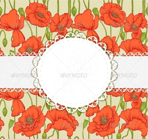 Elegant Vintage Postcard with Poppies - Flowers & Plants Nature