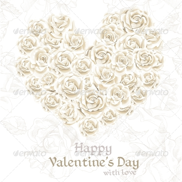 Valentine's Day Banner with White Roses  - Flowers & Plants Nature