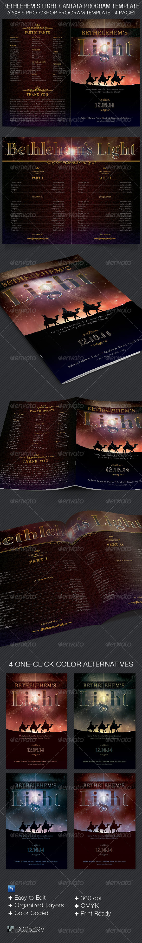 Bethlehem Light Cantata Program Template - Brochures Print Templates