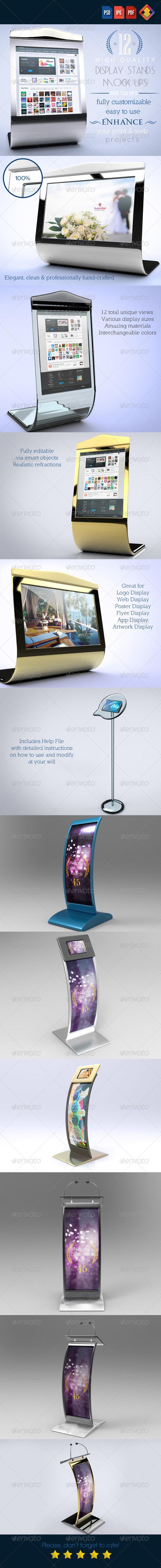 12 Luxury Display Stands Mock-Ups V.1 - Signage Print