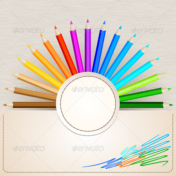 Pencil Colors on Paper Background - Man-made Objects Objects