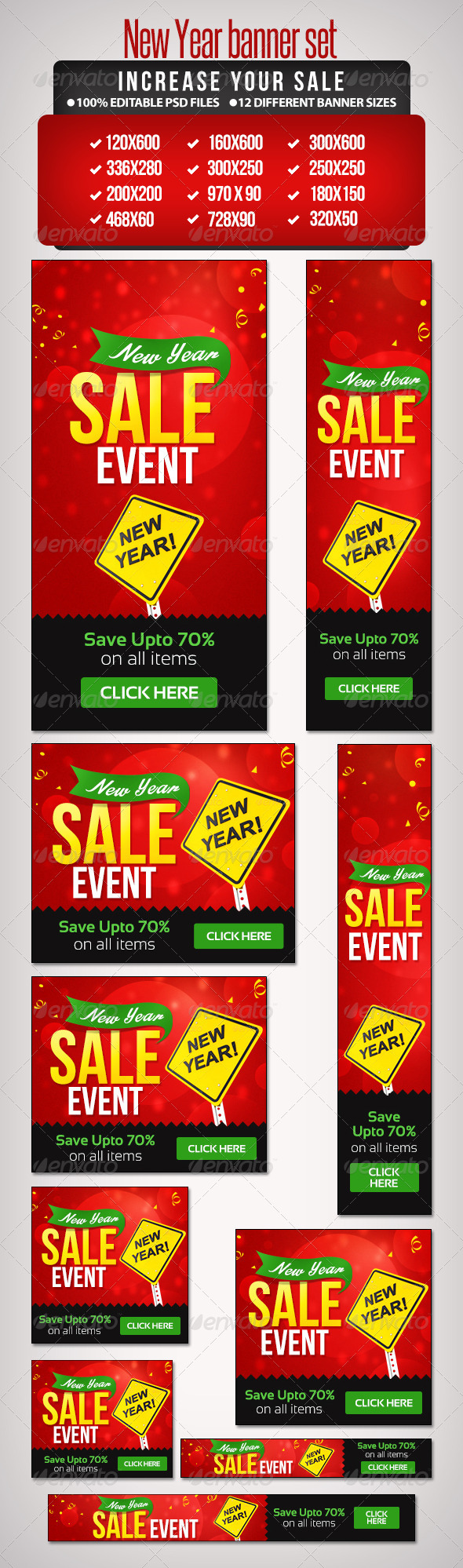 New Year Sales Banner Set 2 - 12 Sizes - Banners & Ads Web Elements