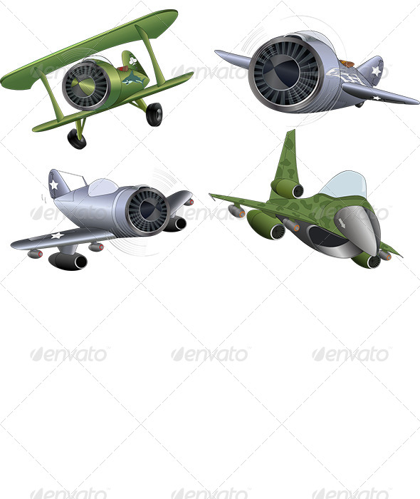 The Military Planes Clip Art  - Objects Vectors