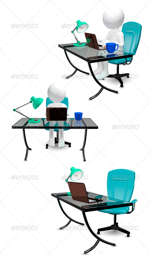 Man at Table  - Objects 3D Renders
