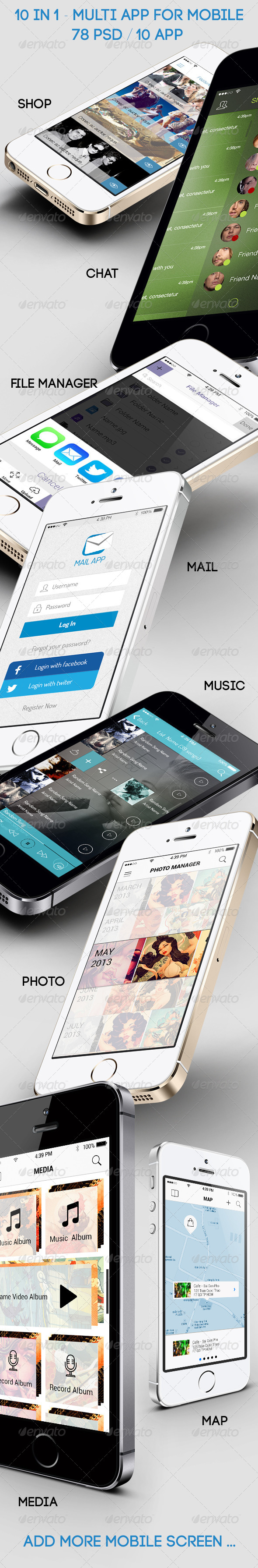 10 in 1 - Multi App for Mobile - Big Bundle - User Interfaces Web Elements