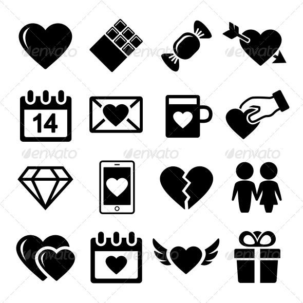 Valentine Day Love Icons Set - Web Icons