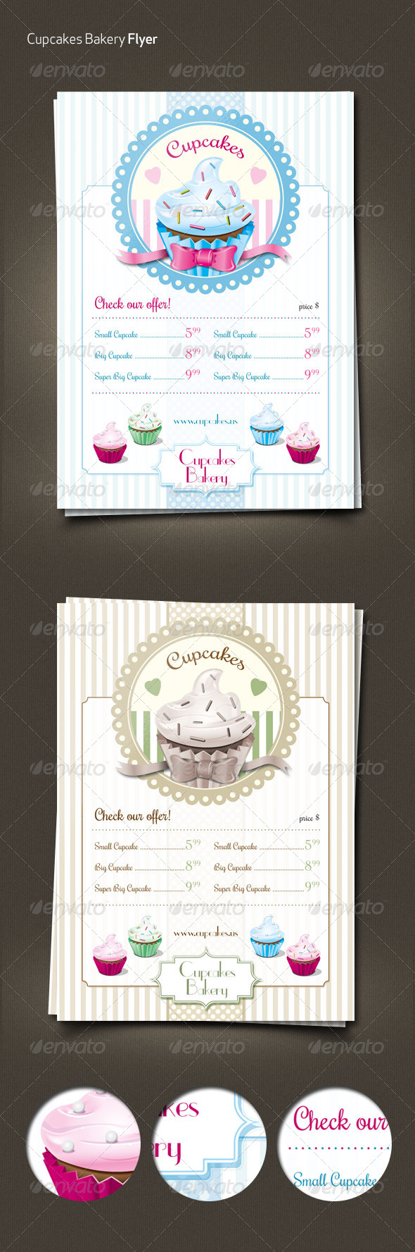 Cupcakes Retro Menu Flyer - Food Menus Print Templates