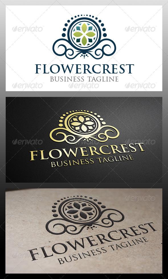Flower Crest Logo - Crests Logo Templates