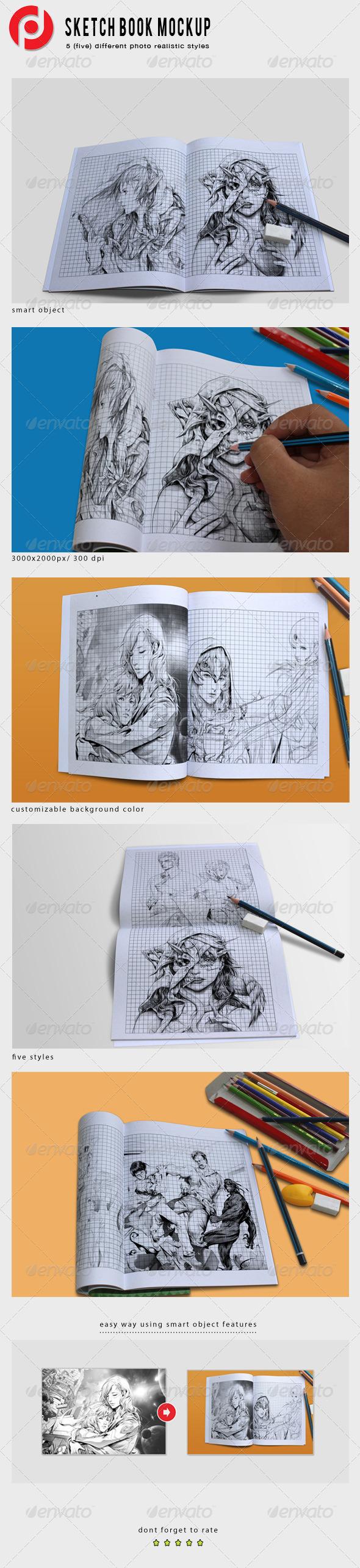 Sketch Book Mockups - Product Mock-Ups Graphics